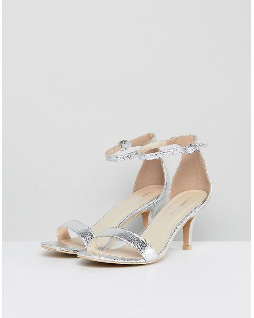 ddff1fea3a0 ... Glamorous - Metallic Silver Barely There Kitten Heeled Sandals - Lyst