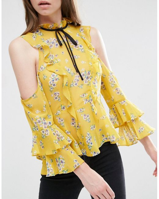 Asos Cold Shoulder Ruffle Blouse In Floral Print In Yellow