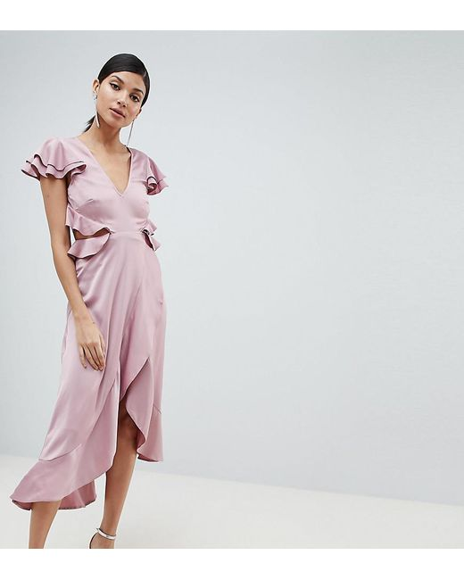 eec8e39735c5 ASOS - Pink Asos Design Tall Ruffle Midi Dress In Rippled Satin With Cut  Out Back ...