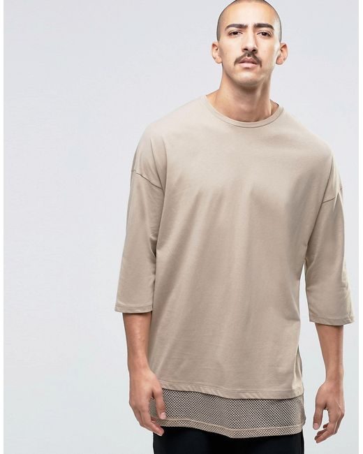 Asos Oversized 3 4 Sleeve T Shirt With Double Layer Mesh