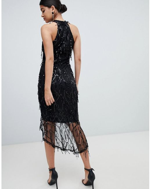 a98ed1cad3d ... AX Paris - Black Racer Neck Midi Dress With Fringed Sequin Detail - Lyst