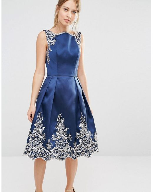 Chi Chi London | Blue Embroided Midi Dress With Premium Metallic Lace Hem | Lyst