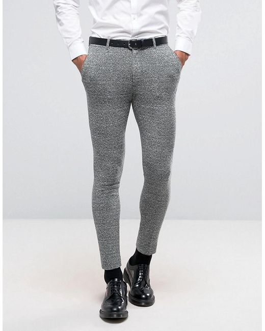 Asos Wedding Super Skinny Suit Trousers In Green And Grey Jersey ...