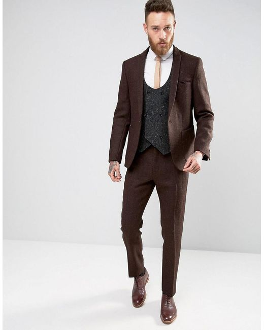 Asos Slim Suit Jacket In Brown Harris Tweed 100% Wool in Brown for