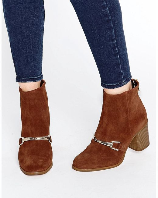 asos revati suede ankle boots in brown rustsuede lyst