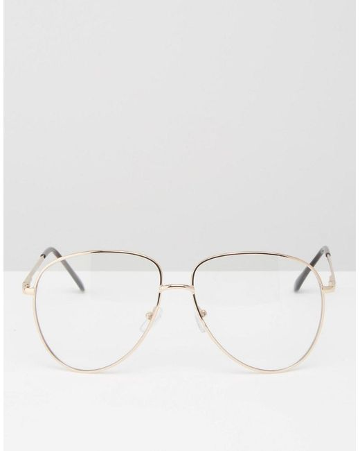 ... ASOS - Metallic Lunettes style intello avec monture en mtal et verres  transparents - Lyst 326b9811b14f