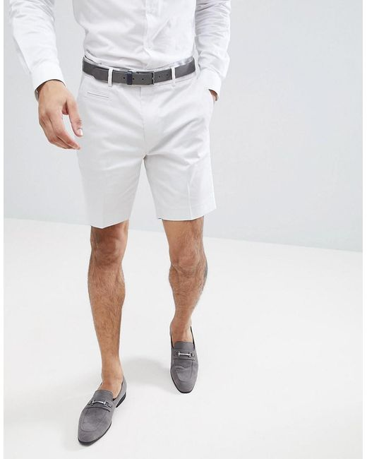 ASOS DESIGN - Slim Mid Length Smart Shorts In Ice Gray Cotton Sateen for Men - Lyst