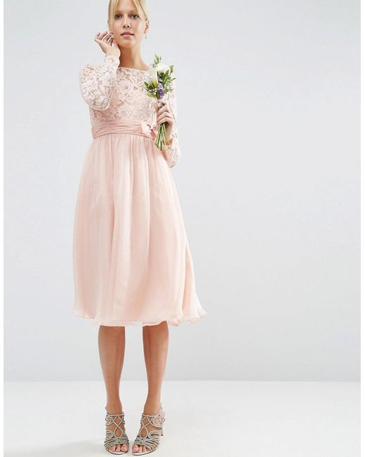 Simple Wedding Dresses Asos: Asos Wedding Midi Dress With Lace And Bow Detail In Pink
