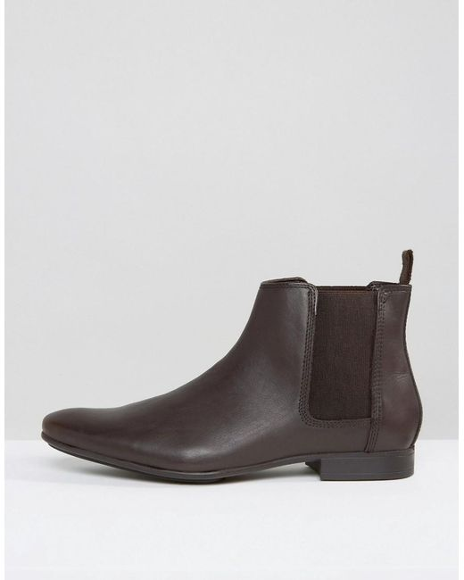 frank wright chelsea boots in brown leather brown in