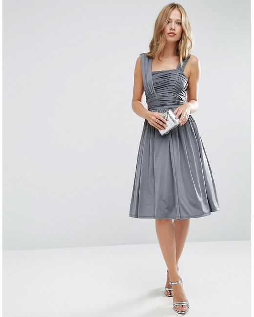 Asos Wedding Slinky Ruched Midi Dress In Grey