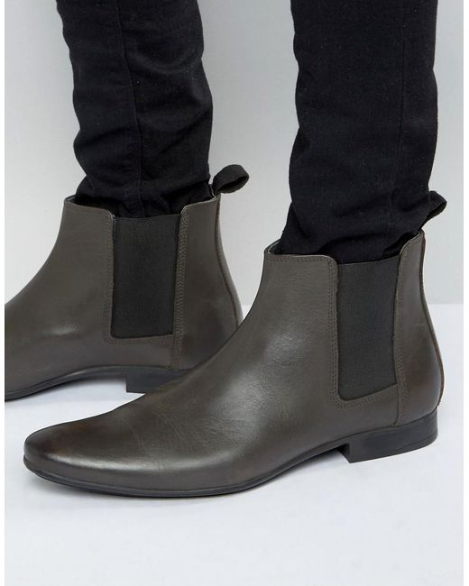 frank wright chelsea boots in grey leather in gray for