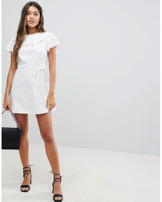 486df9159f Fashion Union - White Dress With Broderie Collar And Sleeves - Lyst ...
