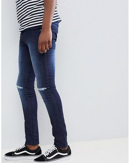 Loyalty and Faith Siret Super Skinny Jeans with Ripped Knees in Dark Wash - Blue Loyalty & Faith 5RImQAAo