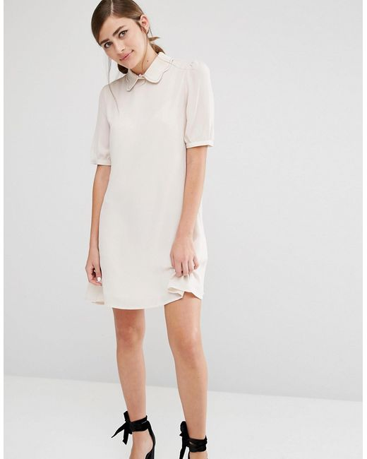 Fashion Union Shift Dress With Scallop Hem Collar Beige In Natural Lyst