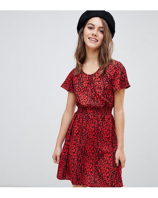 d27ce4153e25 Lyst - New Look Animal Print Shirred Waist Dress In Red Pattern in Red