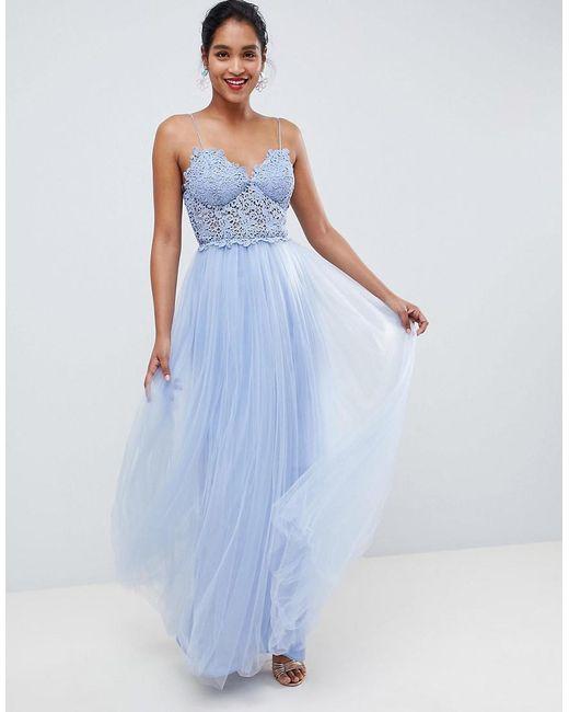 800f5968c440 ASOS - Blue Premium Lace Cami Top Tulle Maxi Dress - Lyst ...