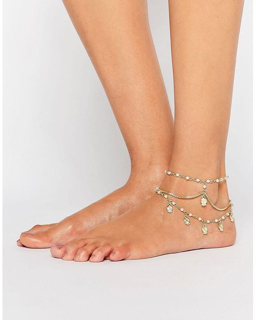 ASOS | Multicolor Multirow Faux Pearl & Charm Anklets | Lyst