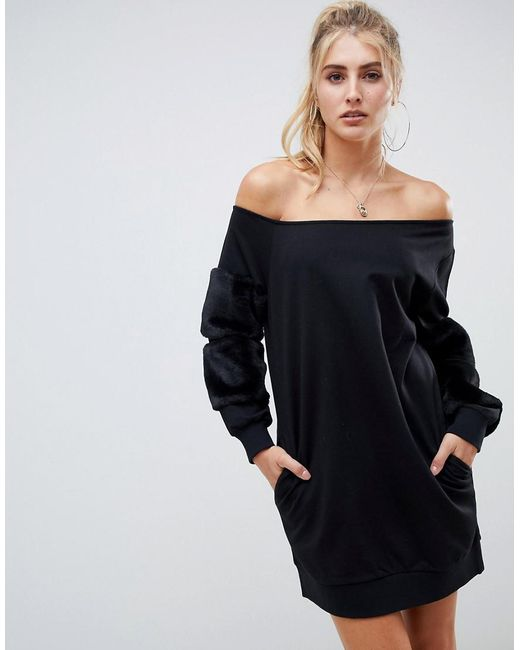 c2a058312b77 ASOS - Black Off Shoulder Sweat Dress With Faux Fur Sleeves - Lyst ...