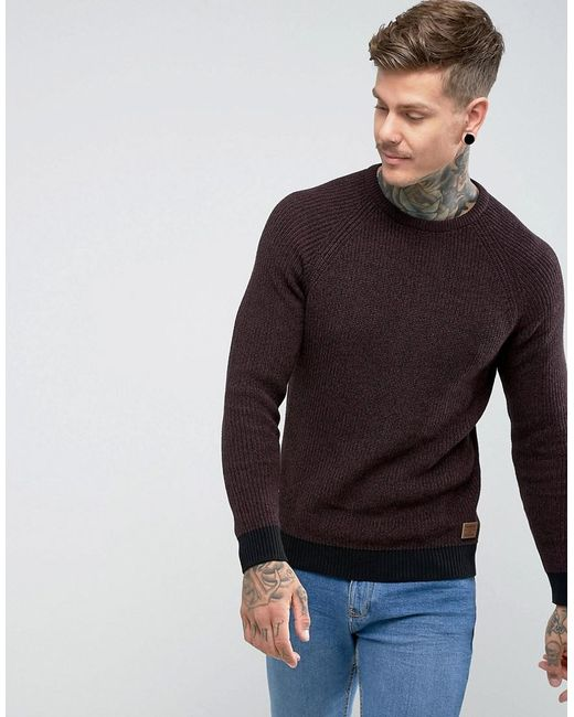 Threadbare - Purple Crew Neck Sweater for Men - Lyst