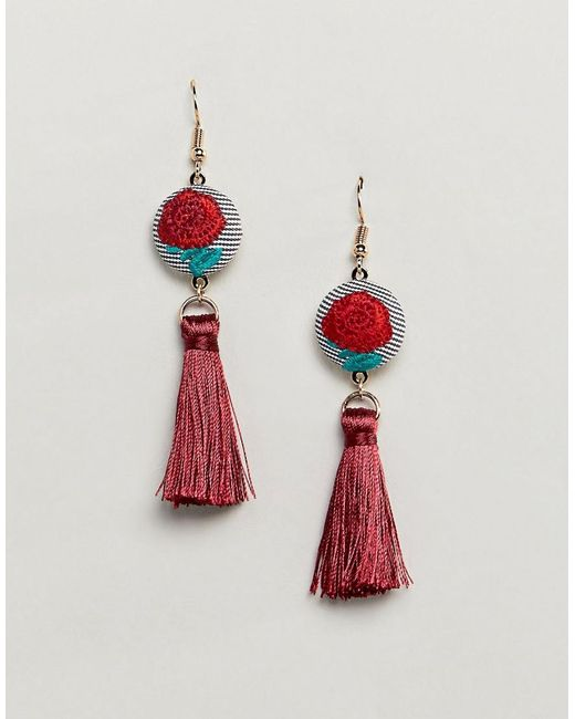 ASOS - Design Embroidered Disc And Tassel Earrings - Lyst