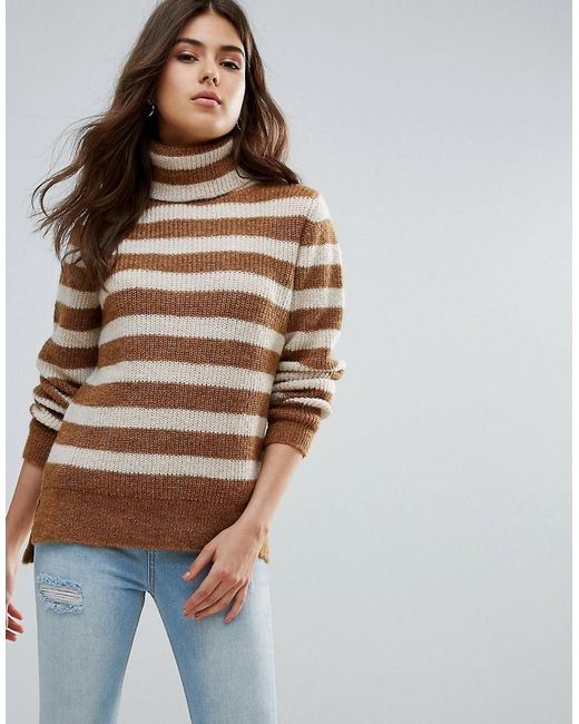 Pieces - Brown Hella Striped Rollneck Mohair Wool Blend Knit Jumper - Lyst
