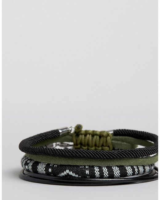 ASOS | Woven Bracelet Pack In Black With Khaki for Men | Lyst