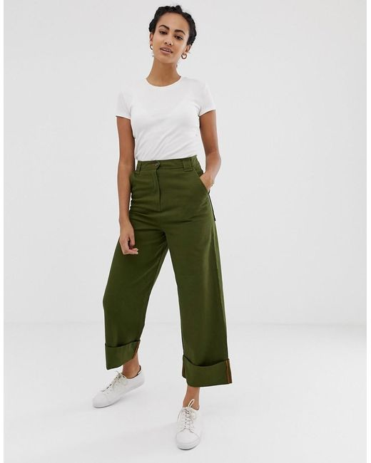 b05dea980040 ASOS - Green Combat Trousers With Straight Leg - Lyst ...