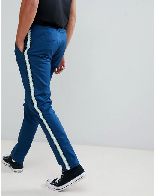 ASOS Slim Pants In Blue With Side Taping for men