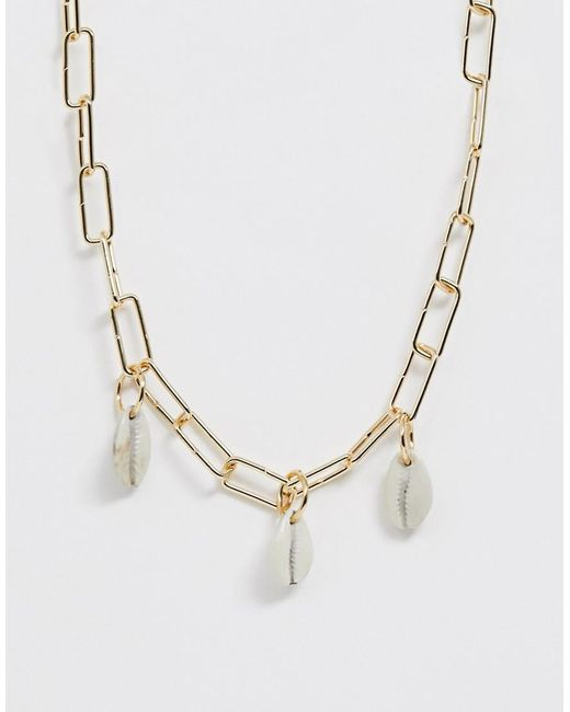 ASOS Metallic Necklace In Square Open Link Chain With Faux Shell Pendants In Gold Tone