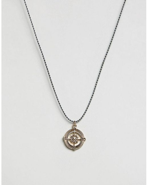 Icon Brand | Black Compass Cord Necklace for Men | Lyst