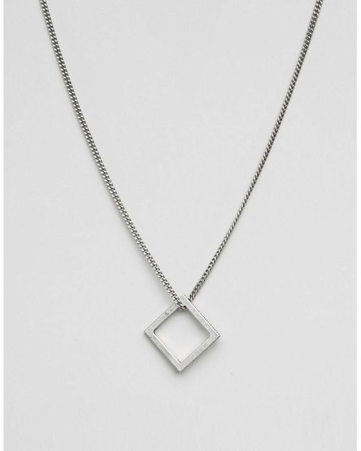 Icon Brand - Metallic Square Necklace In Silver for Men - Lyst