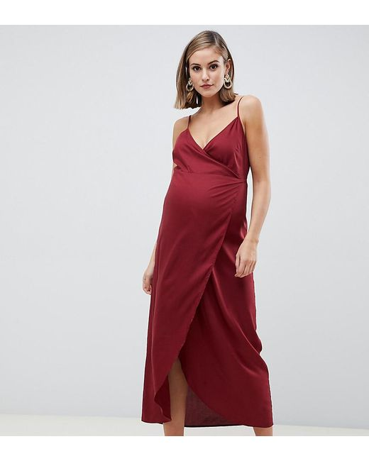 0fdf93c78e22 ASOS - Red Asos Design Maternity Cami Wrap Maxi Dress - Lyst ...
