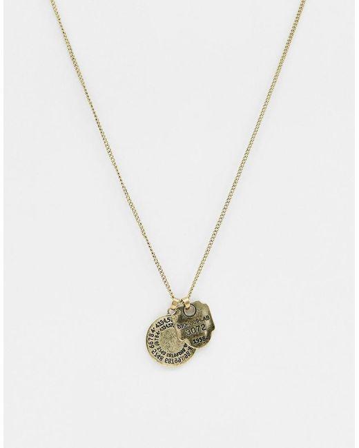 Bershka - Metallic Goldene Halskette mit zwei Anhngern for Men - Lyst