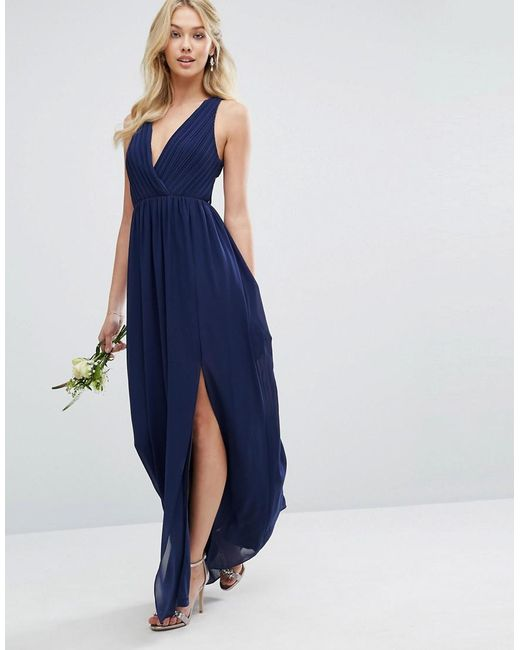 3bf086cb4421 ... TFNC London - Blue Pleated Maxi Bridesmaid Dress With Back Detail - Lyst
