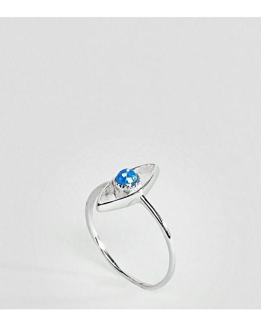 ASOS   Metallic Sterling Silver Faux Opal Stone Eye Ring   Lyst