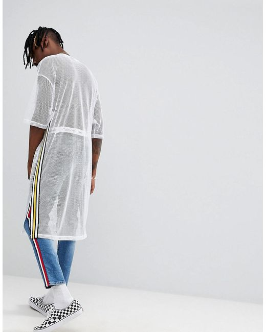 DESIGN oversized extreme longline t-shirt in loose mesh with taping in white - White Asos Shop Sale Online Cheap Sale Affordable From China Low Shipping Fee Authentic Online Cheap Sale Collections wOJuf2Q