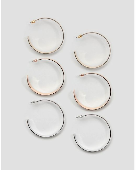 New Look - Multicolor 3 Pack Hoop Earrings - Lyst