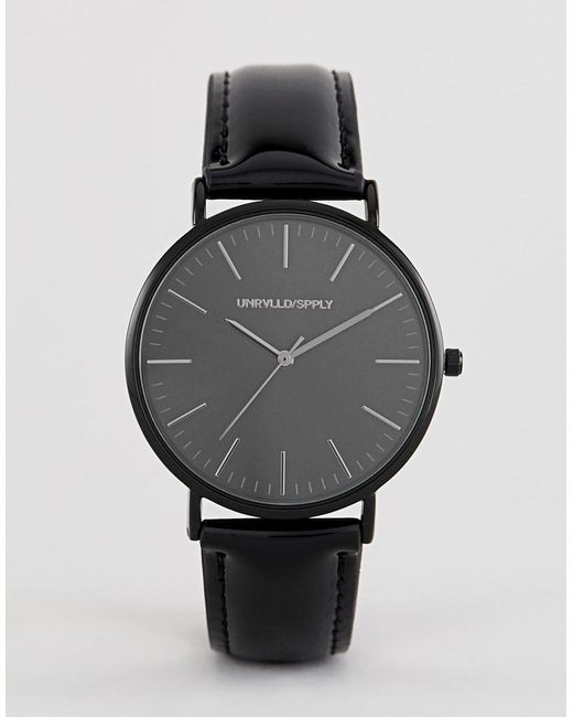 ASOS - Watch In Black With Patent Strap for Men - Lyst