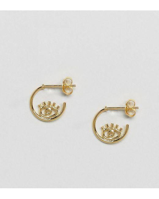 ASOS   Metallic Gold Plated Sterling Silver Open Hoop Eye Stud Earrings   Lyst