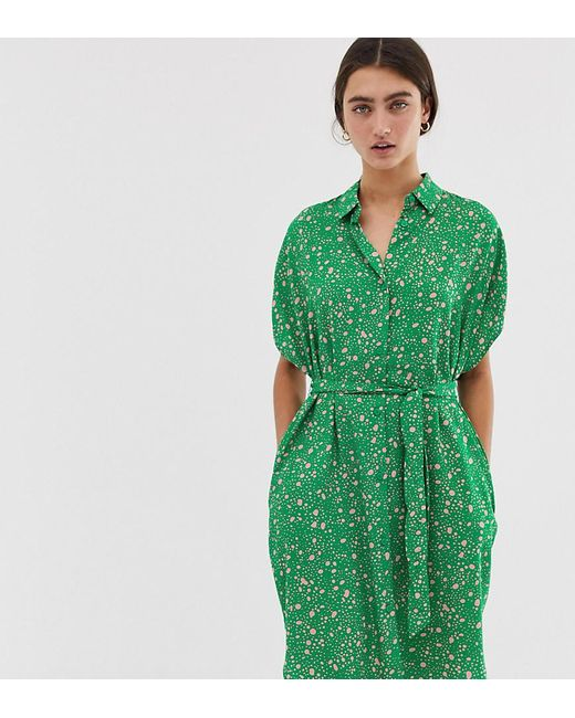 ff3b49771 Monki - Dot Print Drop Shoulder Shirt Dress In Pink And Green - Lyst ...