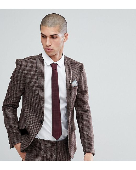 Heart & Dagger - Brown Super Skinny Suit Jacket In Dogstooth Fleck for Men - Lyst