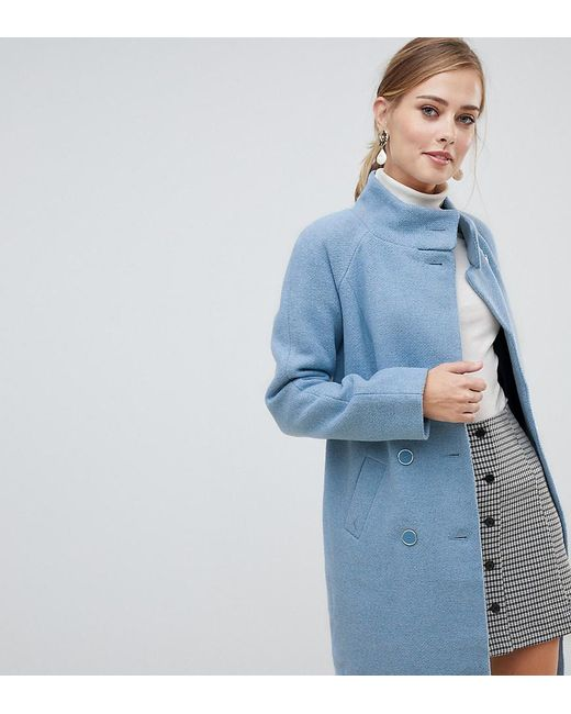 85d4862bdff7 Oasis Funnel Neck Coat In Blue in Blue - Save 19% - Lyst