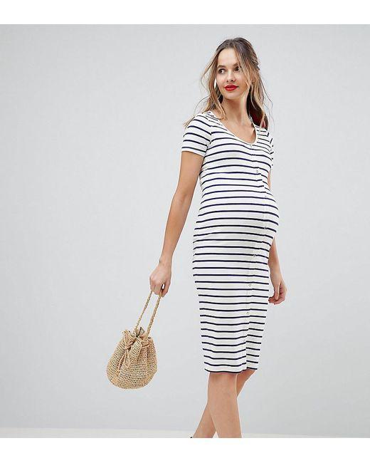 ASOS - Multicolor Asos Design Maternity Midi Short Sleeve Bodycon Dress With Popper Front In Stripe - Lyst
