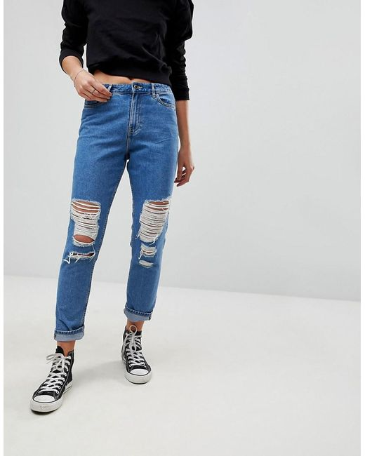 f0e2f2607db ONLY - Blue Destroyed Mom Jeans - Lyst ...
