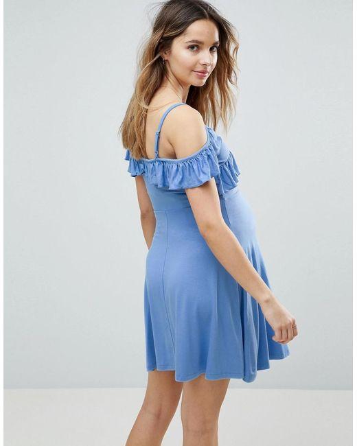 Criss Cross Skater Dress with Cold Shoulder - Blue Asos Maternity ED1uin1F