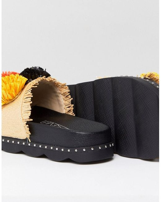 Sixtyseven Belle Natural Raffia Pom Slide Sandals rdsO0bZH