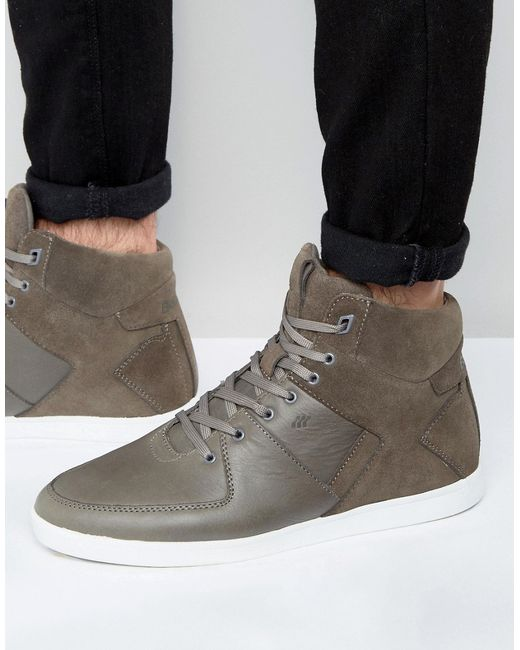 boxfresh camberwell hi top trainers in grey for men lyst. Black Bedroom Furniture Sets. Home Design Ideas