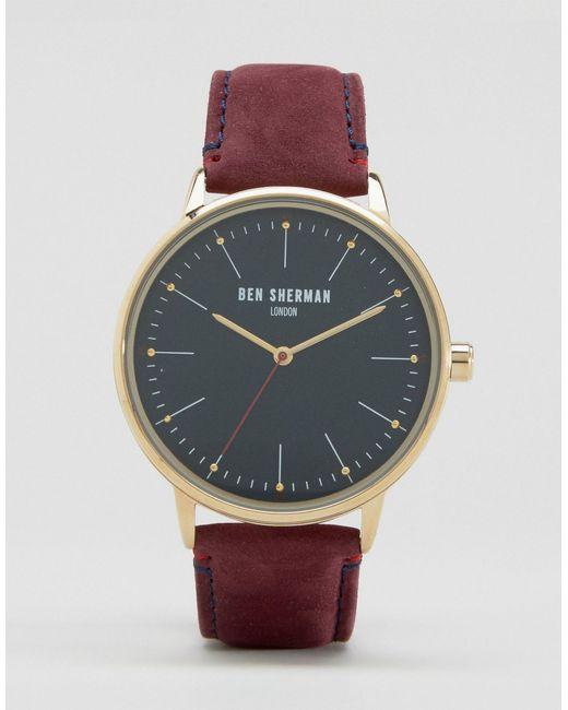 ben sherman burgundy leather watch in brown for men lyst. Black Bedroom Furniture Sets. Home Design Ideas