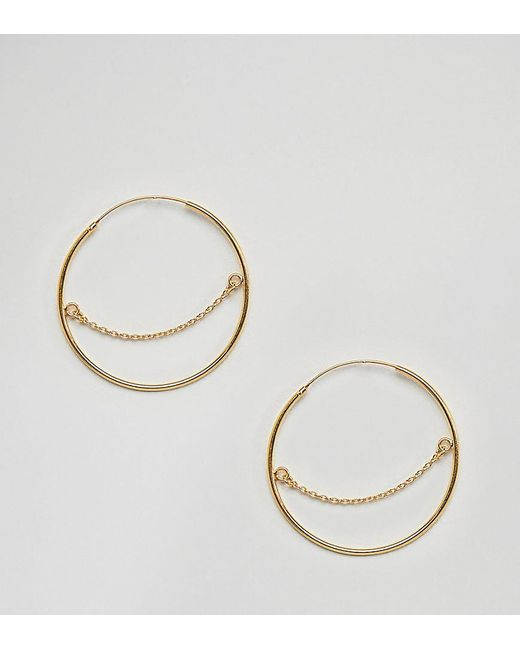 ASOS - Metallic Gold Plated Sterling Silver Hoop Earrings With Chain Detail - Lyst