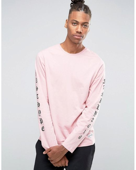 Hype long sleeve t shirt with arm print in pink for men lyst for Shirts for men with long arms